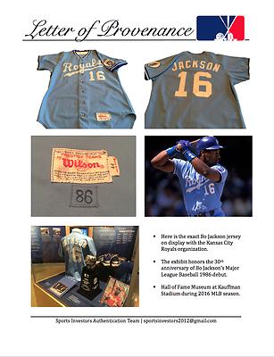 Kansas City Royals 1986 Bo Jackson Game Worn Used Baseball Jersey Photo  Matched 9f809206f