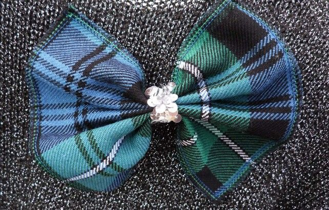 Blue & Green Tartan Bow Brooch