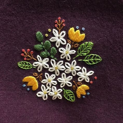 Embroidered necklace - i used up scraps to make something that would remind  me of a