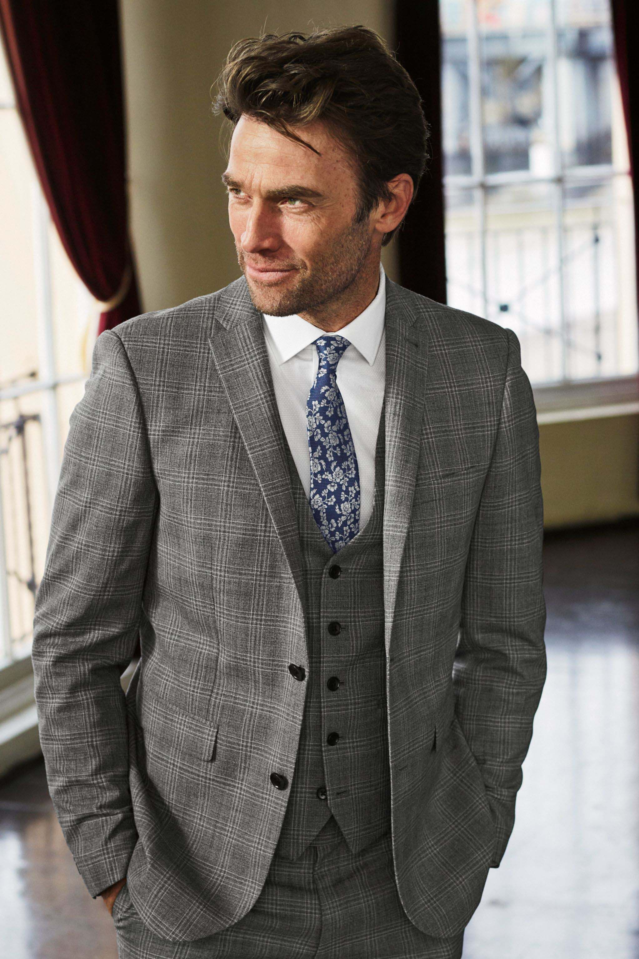24c233e94ae4 Mens Next Light Grey Slim Fit Signature Check Suit: Jacket - Grey in ...