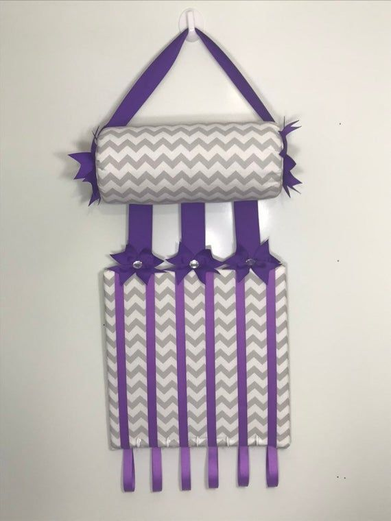 Headband Holder or head band holder hairbow organizer board Gray chevron and purple ribbon Handmade combination holder