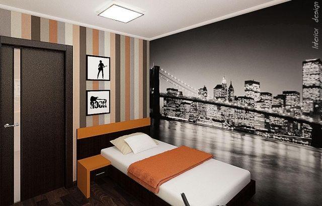 Jugendzimmer wandgestaltung jungen  wandgestaltung jugendzimmer junge fototapete stadt skyline brücke ...