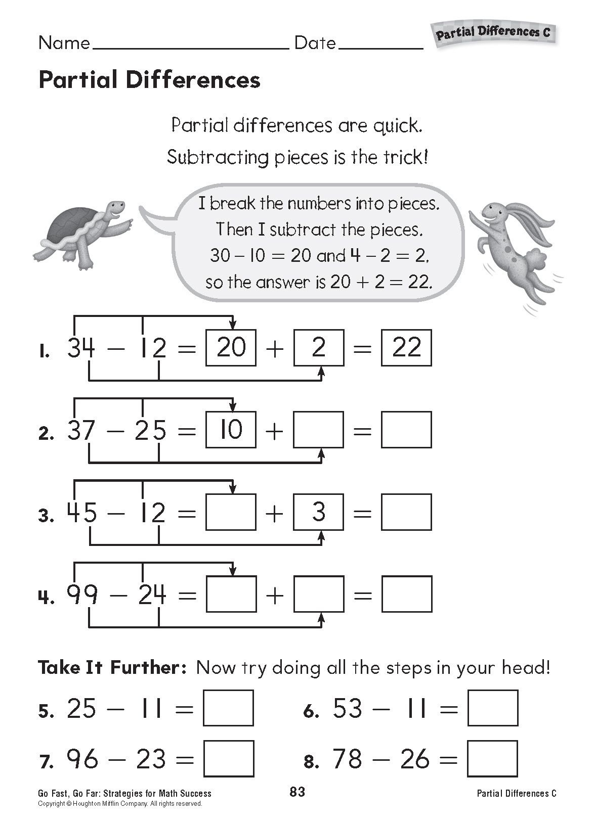 Partial Differences (Grades K-3): Download and print this activity for  practice in subtracting two-digit …   Math worksheets [ 1632 x 1174 Pixel ]