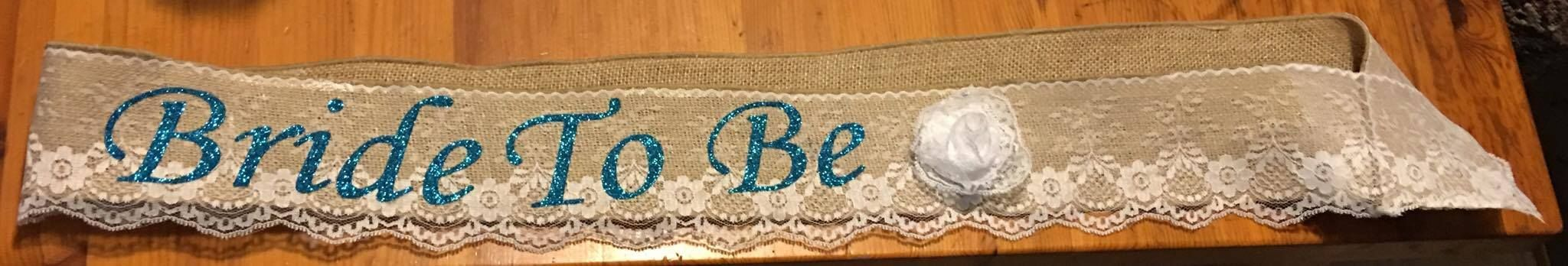 Bride to Be burlap and lace sash with lace flower