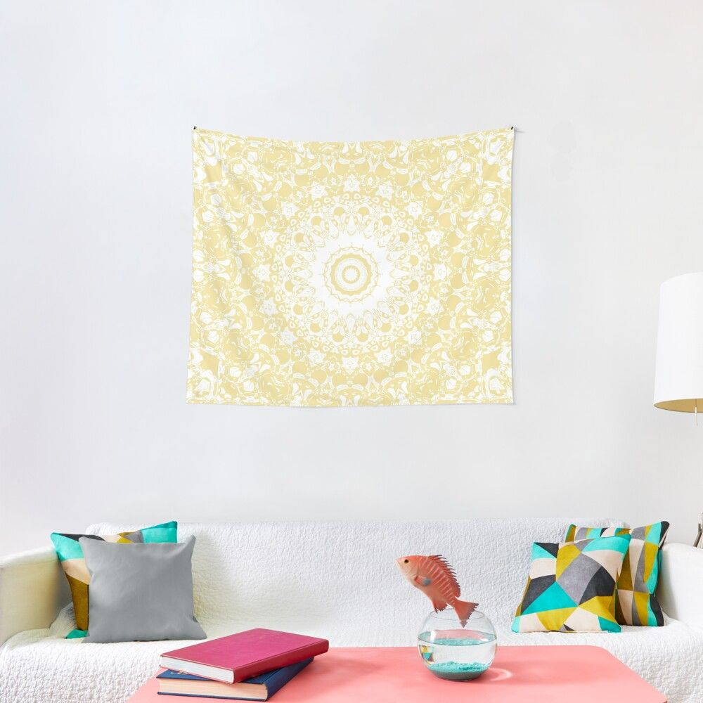 'White Lace Mandala on Sunshine Yellow Background' Tapestry by Kelly Dietrich
