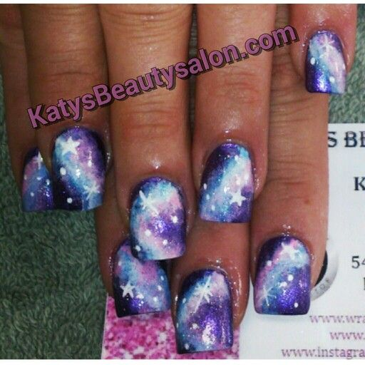 Galaxy nails I did!! I call them cotton candy galaxy nails, they are so pretty i love them :)