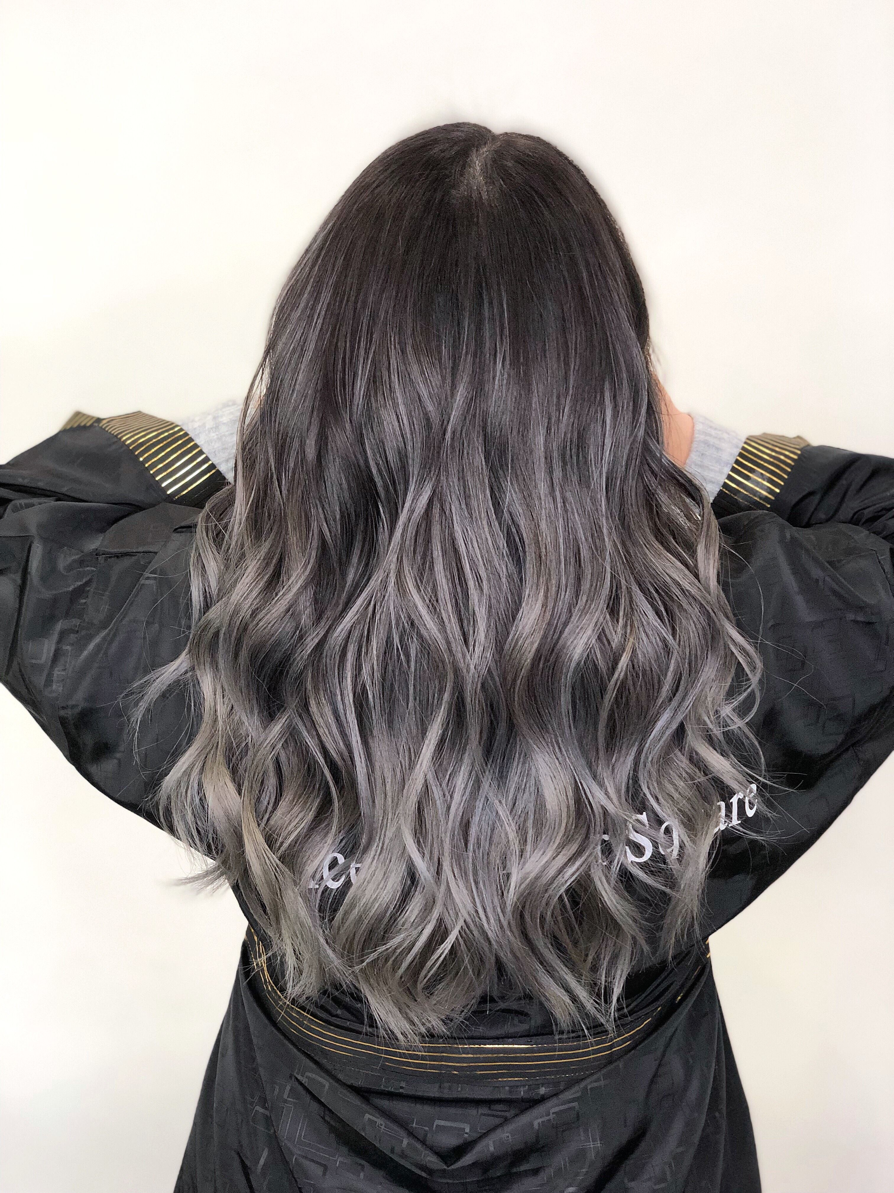 Ash Grey Balayage Ombre Highlights Gray Balayage Ash Gray Balayage Grey Ombre Hair