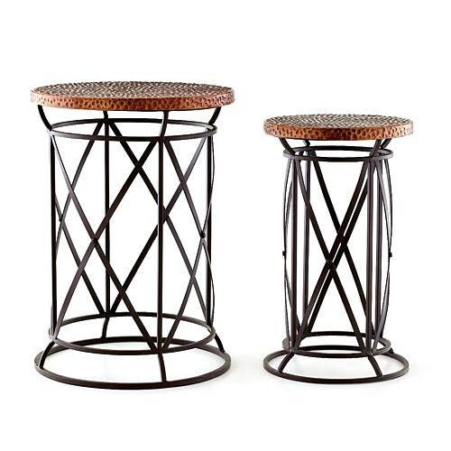 Accent Tables Plant Stand Hammered Copper Top Furniture - Copper top accent table