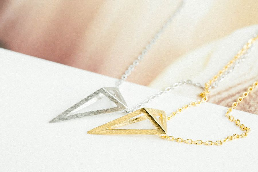 Unique Pendant Triangle  Necklace-mi -The Triangle shape (▲) is a symbol of combination, creation, and illumination. Triangle symbolism speaks to us of magic, and creativity. Triangle jewelry will transport you to another place, 'The magic world!' :-) ☪ Fall in love with Triangle! Be beauty with Alllick!