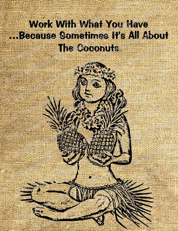 Vintage Art Hawaiian Hula Girl Funny