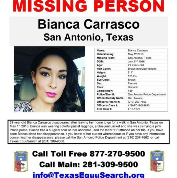 Bianca Carrasco has been missing since May 1, 2016 from San - missing person poster generator