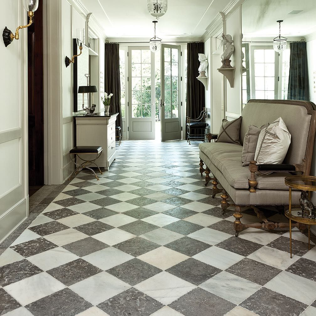 "Exquisite Surfaces on Instagram: ""Antique White Marble and Dalle de France Monfort hallway in Veranda's House of Windsor. Link in bio. #home #antique #stone #entrance…"" #whitemarbleflooring"