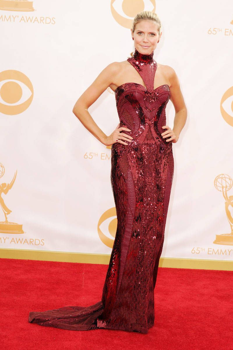 HEIDI KLUM of Project Runway's darling chose a Versace number.Emmys 2013 Red Carpet
