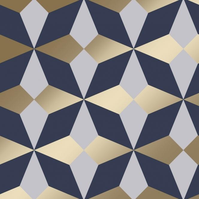 Nova Geometric Wallpaper Navy Gold Wallpaper from I Love