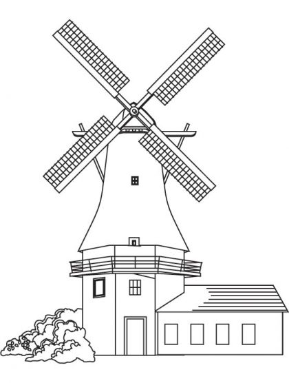 Windmill Coloring Page 풍차 스케치 배경