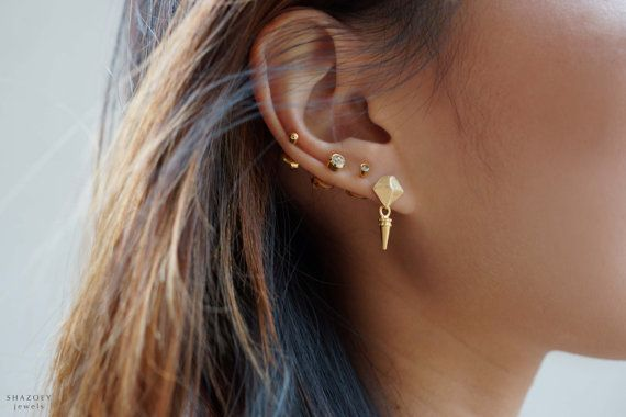 Gold Spike Stud Earrings Mini Faceted Geometric Luxe Queen Of Egypt On Etsy 33 06