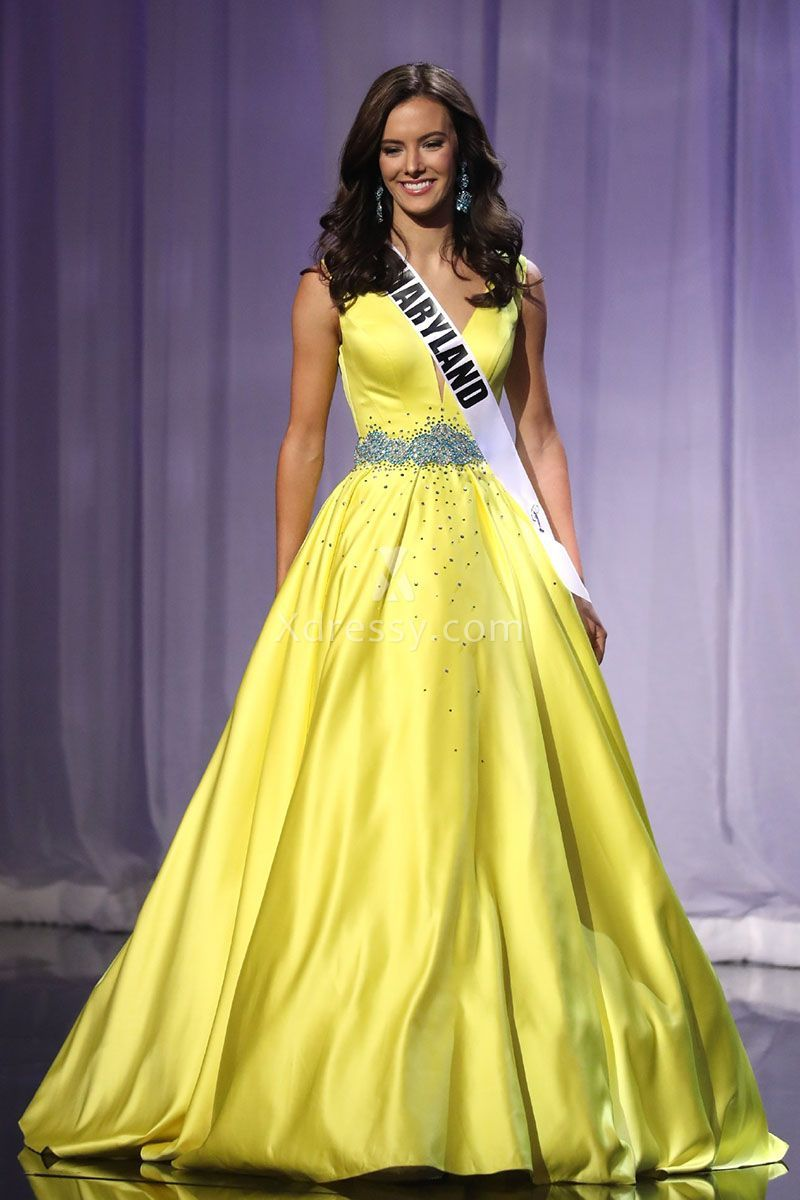 Amy Ingram Beaded Yellow Satin Pageant Ball Gown Miss Teen USA 2016 ...