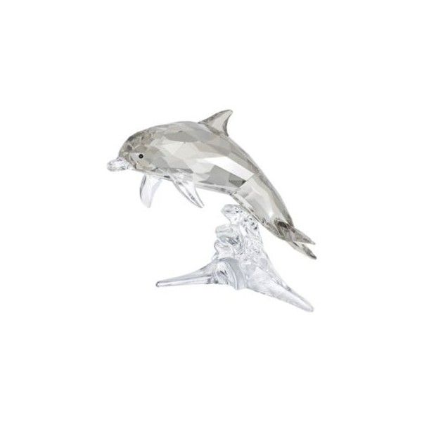 """Swarovski  Crystal """"Mother Dolphin"""" Figurine ($200) ❤ liked on Polyvore featuring home, home decor, ocean home decor, animal figurines, swarovski crystals figurines, swarovski crystal figurines and animal figure"""