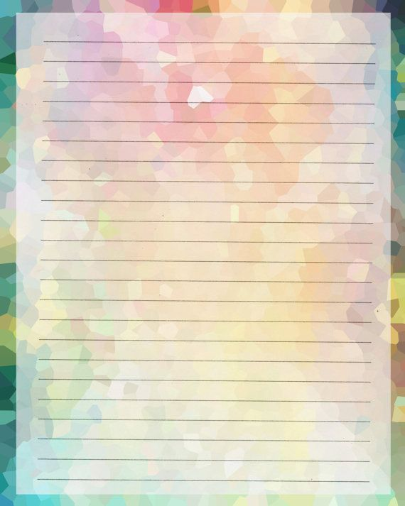 Printable Journal Page, Instant Download, Rainbow Digital - free lined stationery