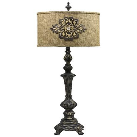 Swoon Decor Burlap Medallion Table Lamp, Burlap Lamp Shades For Table Lamps