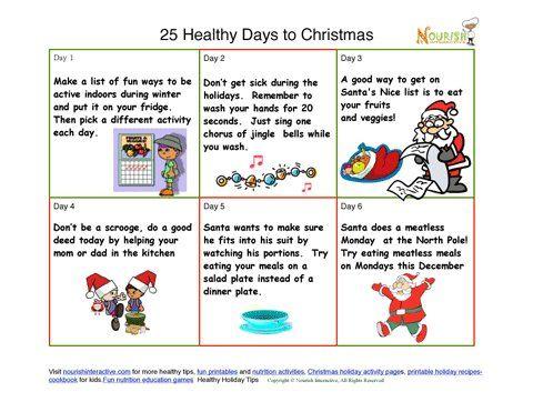Free kidsu0027 healthy Christmas tips printable- Fun Printable - activity calendar