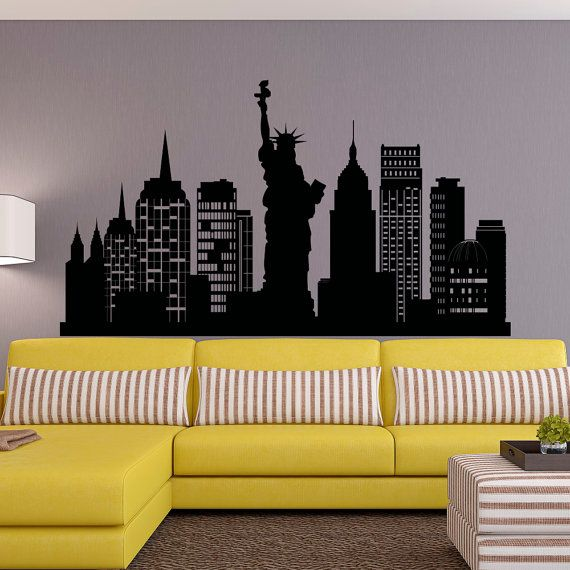 New York City Skyline Wall Decal Nyc Silhouette New York Wall Decals Statue Of Liberty Office Living Room Nyc Wall Art Home Decor C126 Decoracion De Nueva York Pinturas De Pared