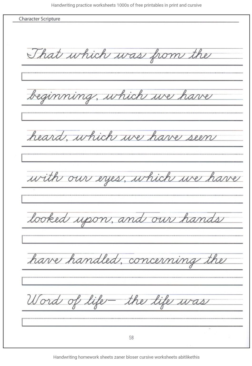 It is a picture of Selective Cursive Writing Worksheet Free Printable