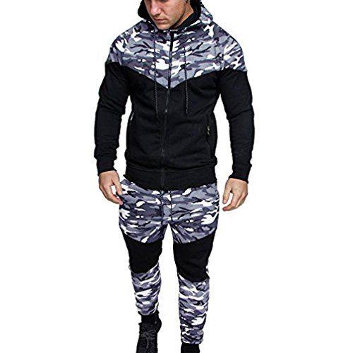 Amlaiworld Chándal de otoño invierno hombres Traje de deportiva hombres  Camuflaje sudadera + pantalones conjuntos ( 859b1d8a1492