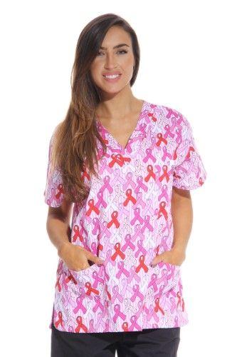 a39b4553850 Dreamcrest Women's Scrub Tops / Holiday Scrubs / Nursing Scrubs (Ribbon  Print 2, X-Large, Regular)
