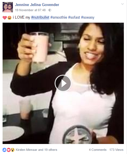 Screenshot from one of our #NutriBullet influencers. #InfluencerMarketing #WordOfMouthAdvertising #theSALT