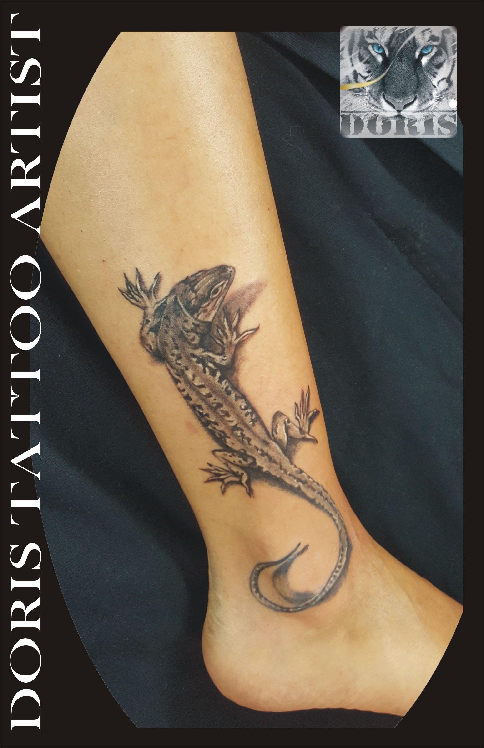 dcd7936ed 3d lizard ankle tattoo | Doris aluf - tattoo Israel / קעקועים דוריס ...