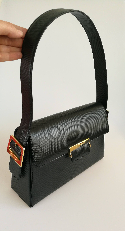 Yves Saint Laurent Vintage Black Leather Shoulder Bag Ysl Leather Shoulder Bag Yves Saint Laurent Vintage Bags