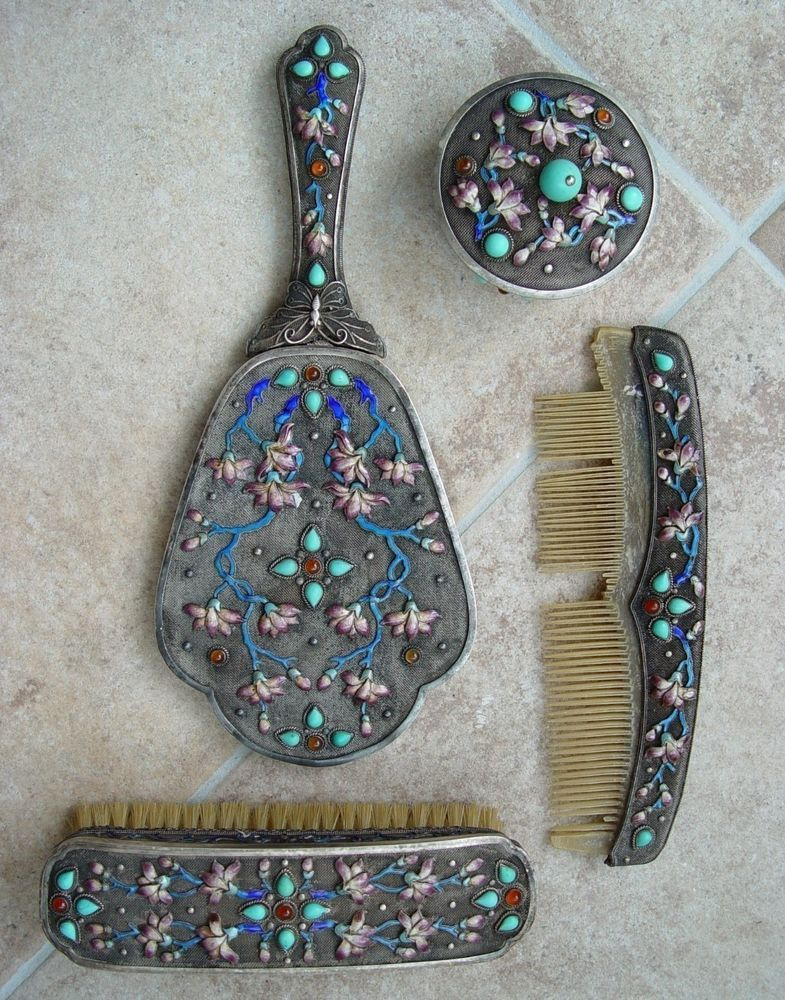 Antique Sterling Silver Asian Chinese Enamel Vanity Set Brush Mirror Comb Bowl #Unknown #Unknown