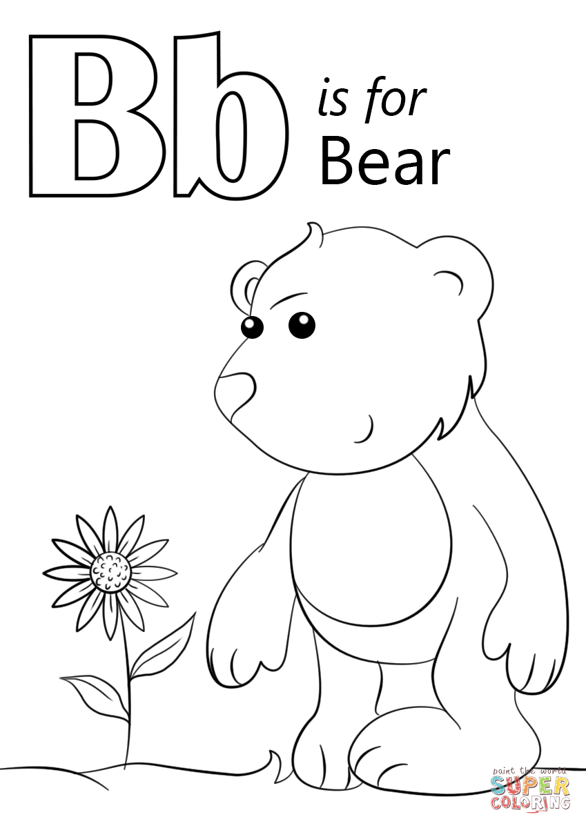 Letter B Is For Bear Coloring Page Free Printable Coloring Pages Bear Coloring Pages Abc Coloring Pages Preschool Coloring Pages