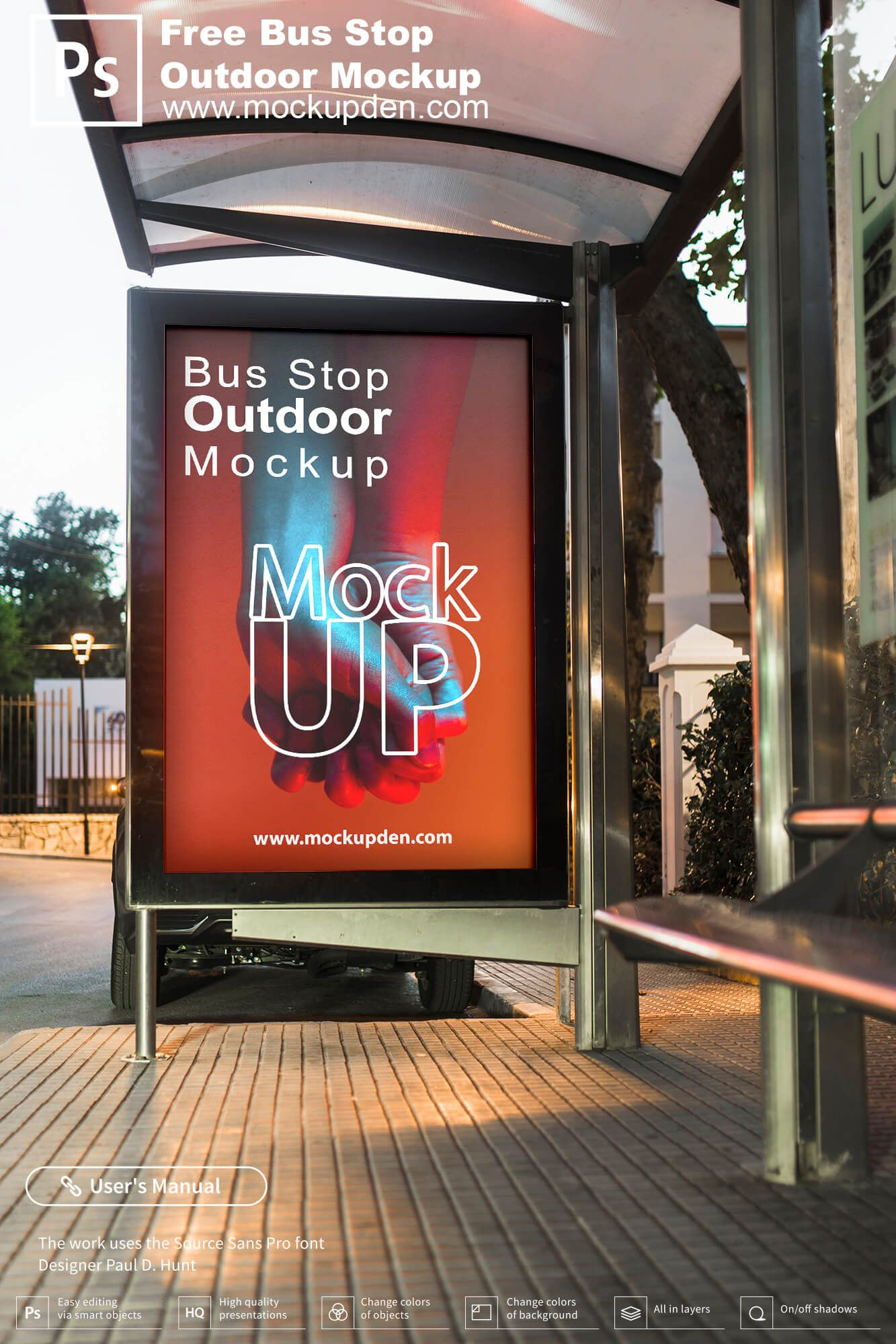 Free Bus Stop Outdoor Mockup Psd Template Bus Stop Poster Mockup Free Mockup Free Psd