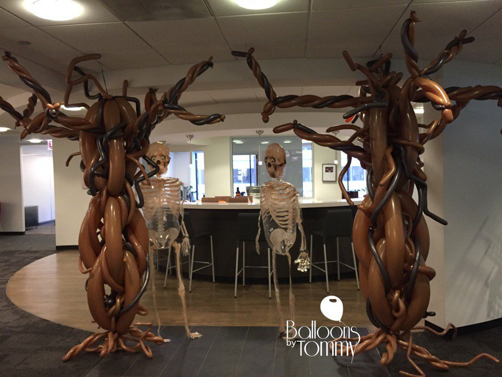 halloween theme decorations office. Balloon Skeletons And Some Spooky Trees Have This Office Party Ready For Their Halloween Party! | Balloons By Tommy #balloonsbytommy Theme Decorations