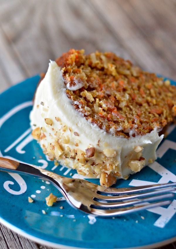 Carrot Bundt Cake - a super moist carrot cake with orange zest, cream cheese frosting and toasted walnuts.  Mountain Mama Cooks