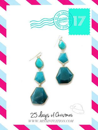 Teal Geometric Earrings