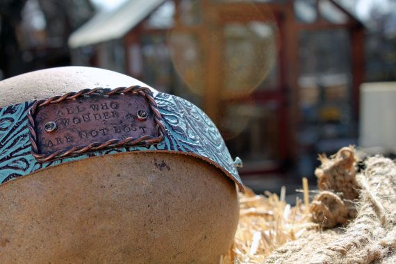 """Handmade """"All Who Wonder are not Lost"""" Metal Stamped and Soldered Leather Bracelet Cuff on Etsy, $50.00"""