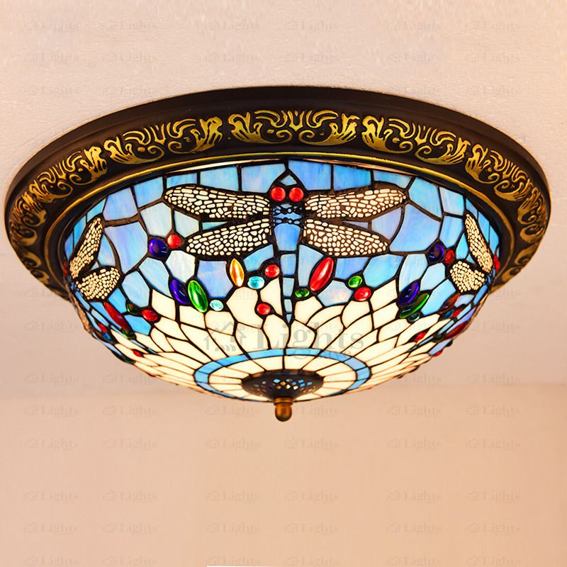 Beautiful Stained Gl Shade Dragonfly Tiffany Ceiling Light
