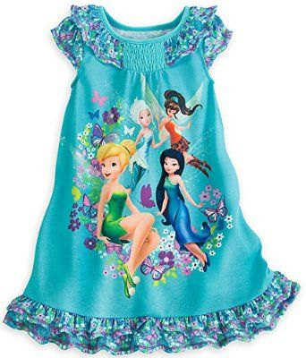 eca2754b78 Amazon.com  Disney Store Fairies Tinker Bell   Friends Nightshirt Nightgown  for Girls