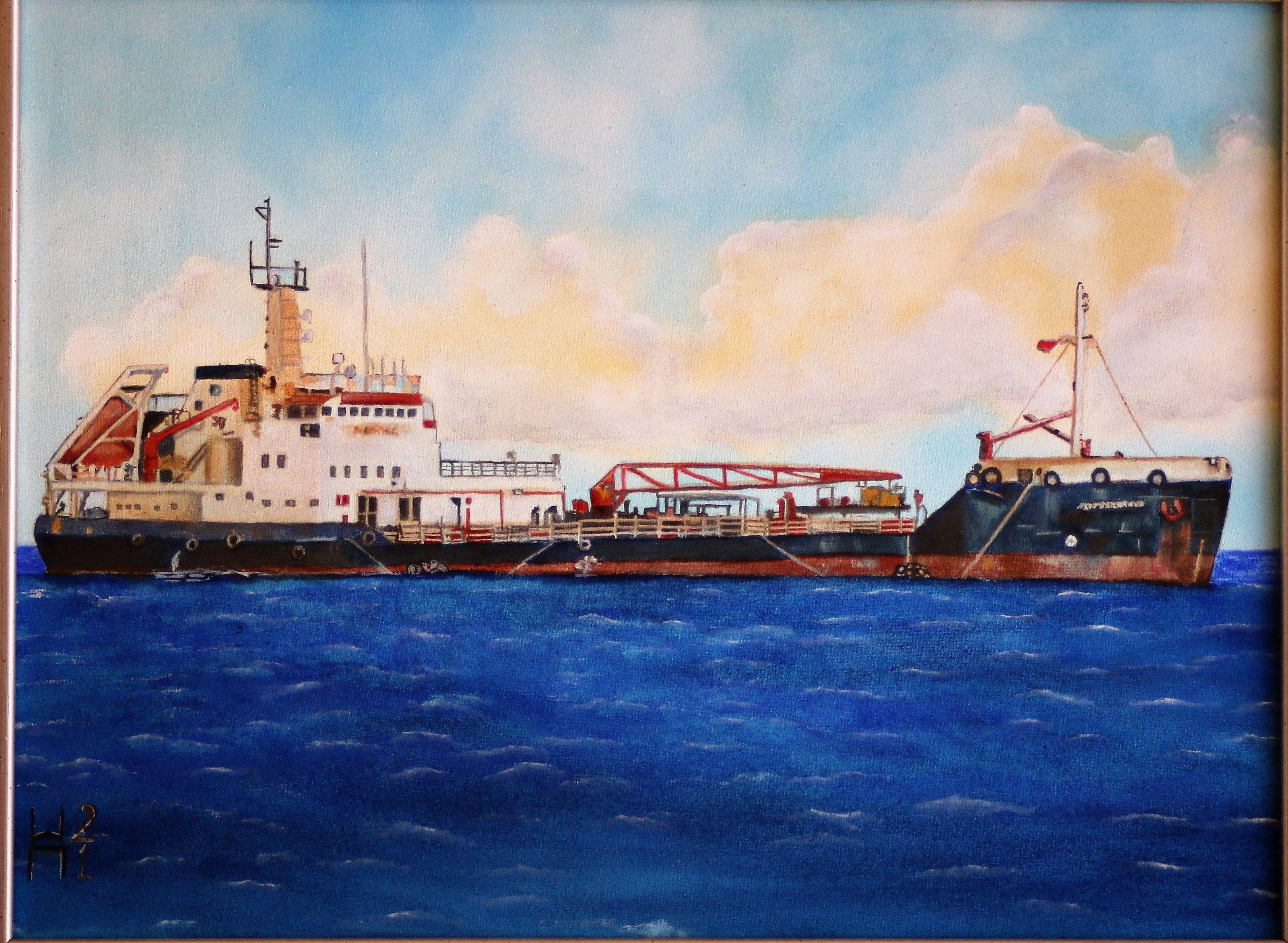 "For Sale: ship sea gaz boat by Stamatis Pavlis | $950 | 16""w 12""h | Original Art | https://www.vangoart.co/stamatis-pavlis/ship-sea-gaz-boat @VangoArt"