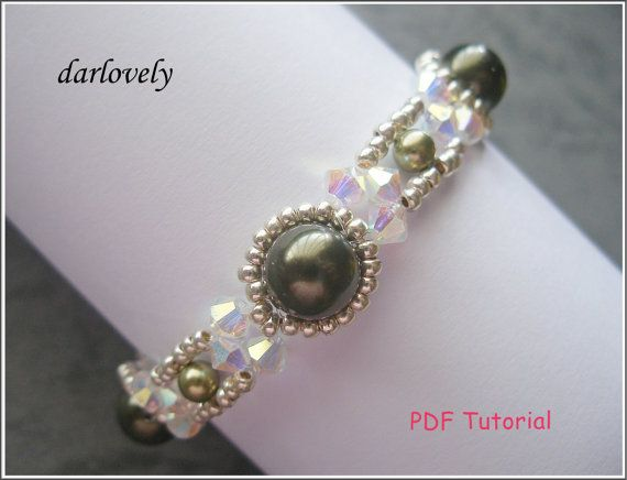Crystal Green Pearl Metal Bracelet BB167  PDF by darlovely on Etsy