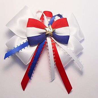 Patriotic Hair Bow with Star Motif & Tails
