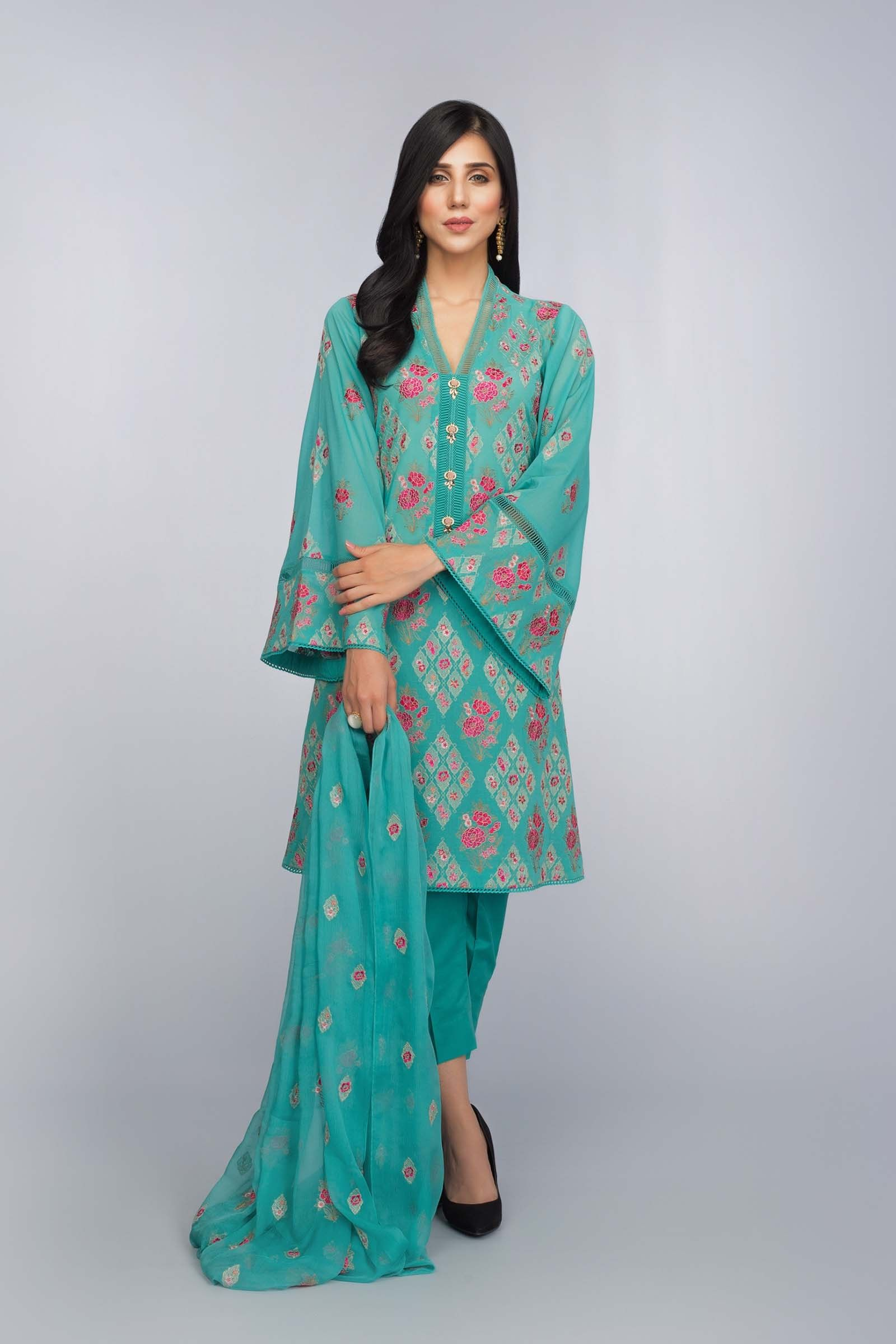 cd8624682ed9 Beautiful green 3 piece unstitched dress by Bareeze Lawn collection ...
