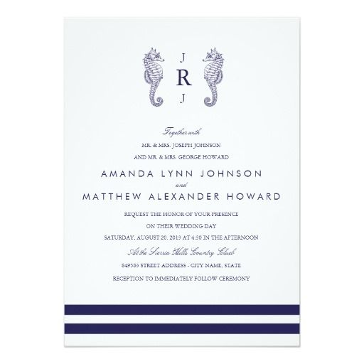 Nautical Navy Seahorse Wedding Invitation