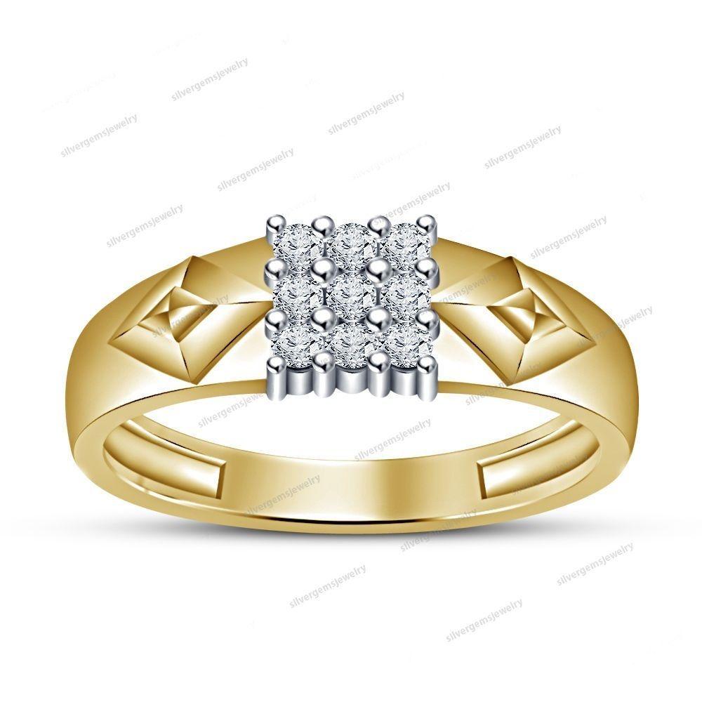 Round Cut Sim Diamond 14k Y/Gold FN 925 Silver Engagement Nine Stone Men's Ring #silvergemsjewelry #NineStoneMensRing