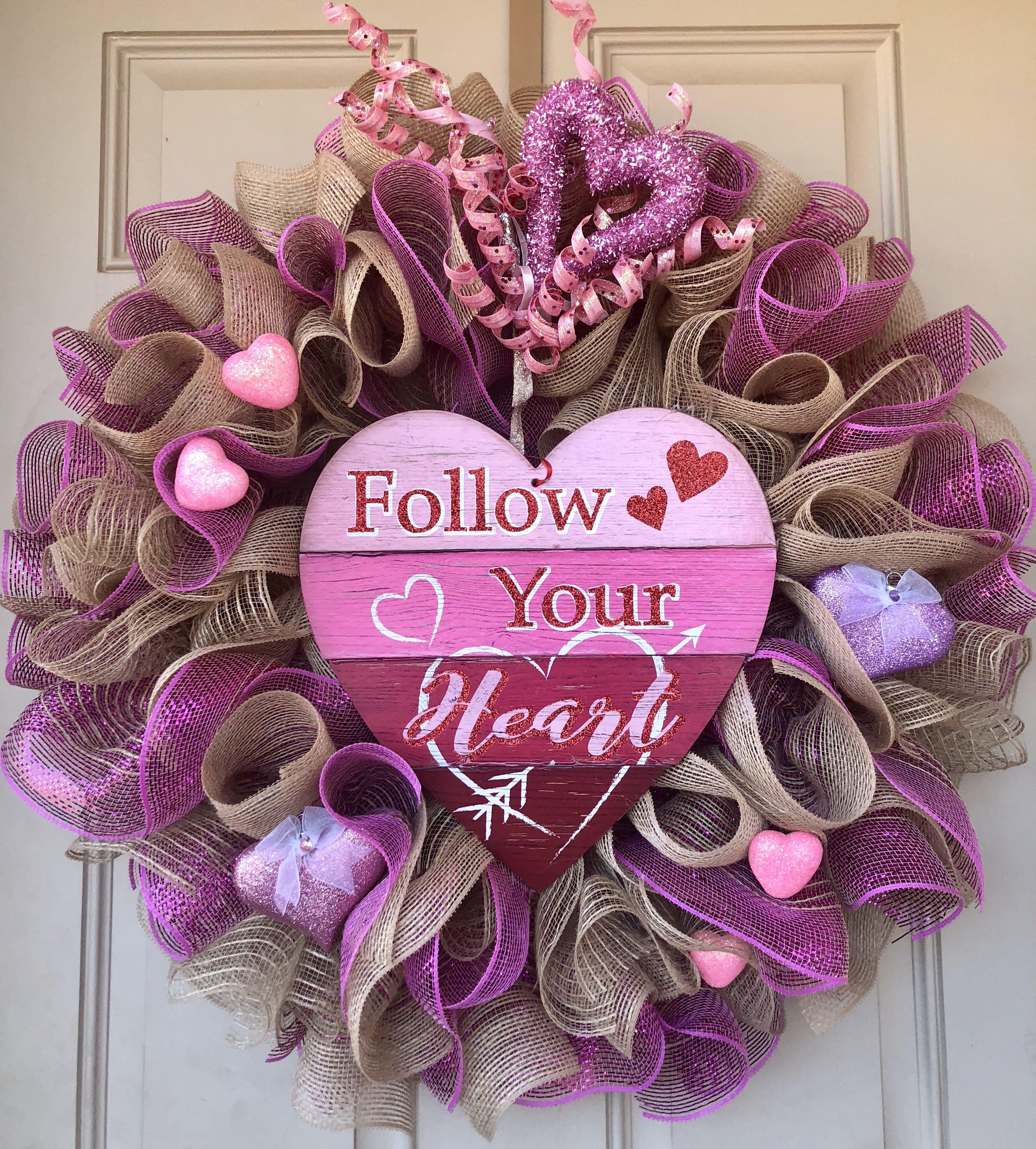 Gorgeous valentine wreath with burlap waves ready to be delivered gorgeous valentine wreath with burlap waves ready to be delivered to your home 24 inches rubansaba