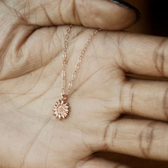 6dd26f041b1 Sunflower necklace in rose gold. Shop the perfect rose gold necklace for  the sunny weather season. Layer this lovely necklace with gold or silver  and make a ...