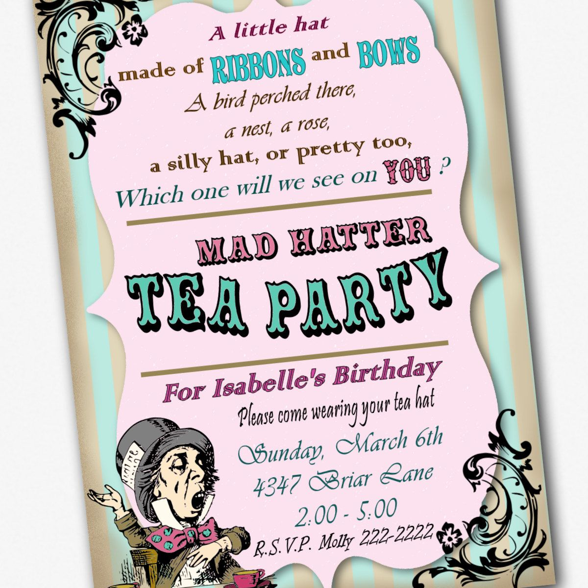 Mad Hatter Invitations | Party ideas | Pinterest